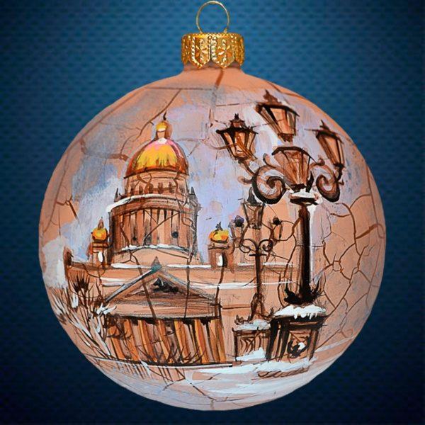 Стеклянный елочный винтажный шар Города мира Исаакиевский собор Санкт-Петербург