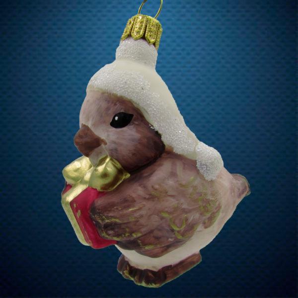 Стеклянная елочная игрушка от Irena Co(Ирена Ко) Птичка в шапочке винтаж