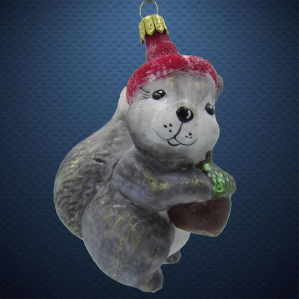 Елочная игрушка Белка в шапочке винтаж, Irena Co