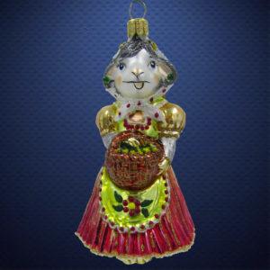 Елочная игрушка Коза с корзиной, Irena Co