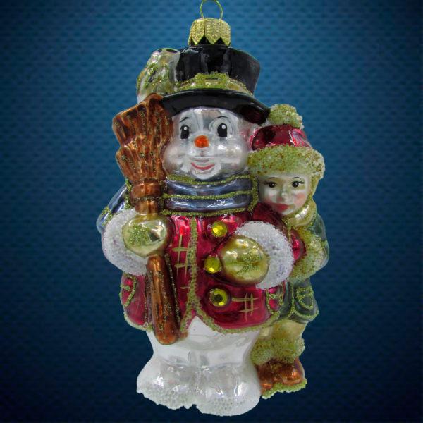 Елочная игрушка Снеговик с мальчиком и метлой Irena Co