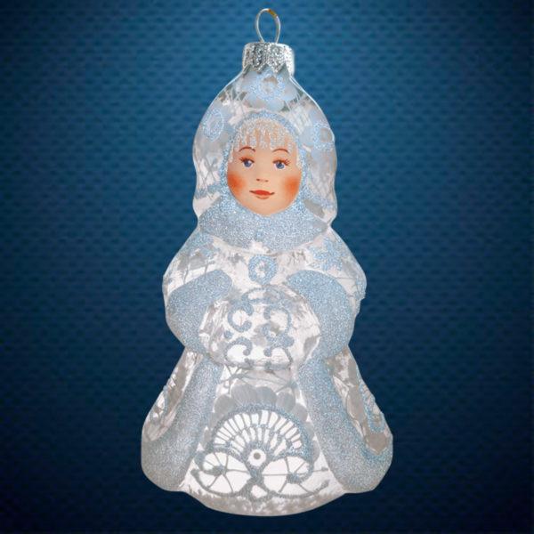 Стеклянная елочная игрушка фабрики Ариель Снегурочка Морозные узоры