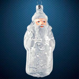 Стеклянная елочная игрушка фабрики Ариель Дед Мороз Морозные узоры