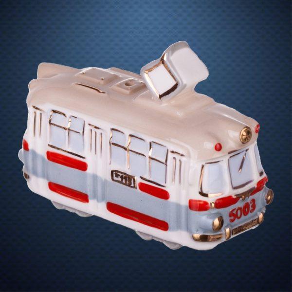 Фарфоровая елочная игрушка из серии РЕТРОТЕХНИКА Фарфоровая Мануфактура ТРАМВАЙ