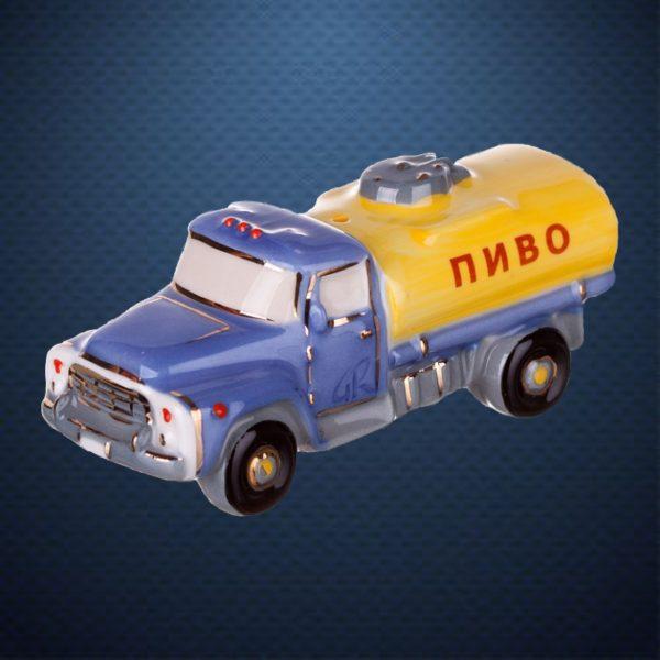 Фарфоровая елочная игрушка из серии РЕТРОТЕХНИКА Фарфоровая Мануфактура ЦИСТЕРНА ПИВО