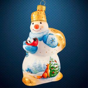 Стеклянная елочная игрушка фабрики Ариель Снеговик Акварель