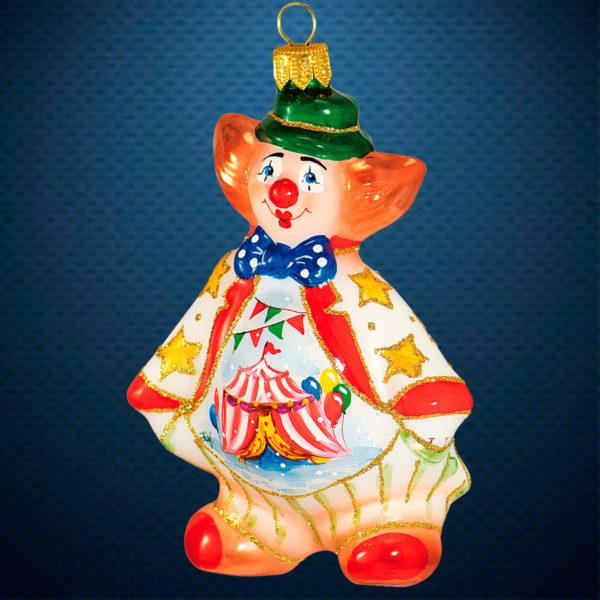 Стеклянная елочная игрушка фабрики Ариель Клоун Акварель
