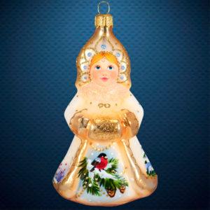 Стеклянная елочная игрушка фабрики Ариель Снегурочка Акварель