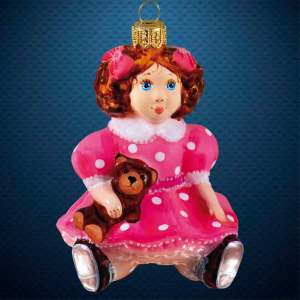 Стеклянная елочная игрушка от фабрики Ариель Кукла с медвежонком