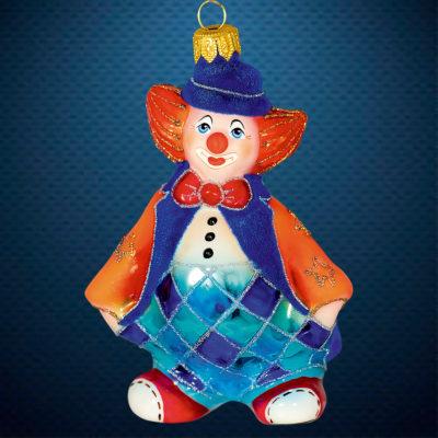 Стеклянная елочная игрушка от фабрики Ариель Клоун Флокки
