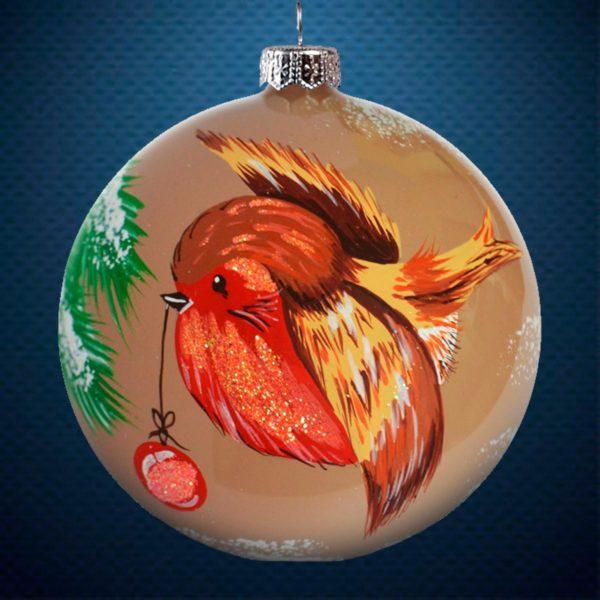 Стеклянный елочный винтажный шар из серии Птички и звери Птичка с шариком