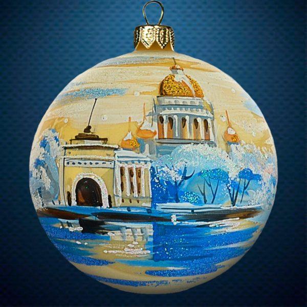 Стеклянный елочный винтажный шар Города мира Набережная Санкт-Петербург