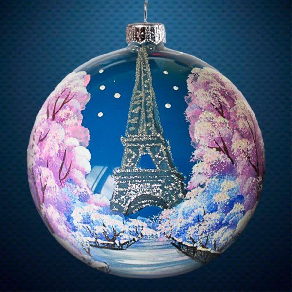 Стеклянный елочный винтажный шар Города мира Париж