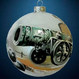 Стеклянный елочный винтажный шар Города мира Царь-пушка