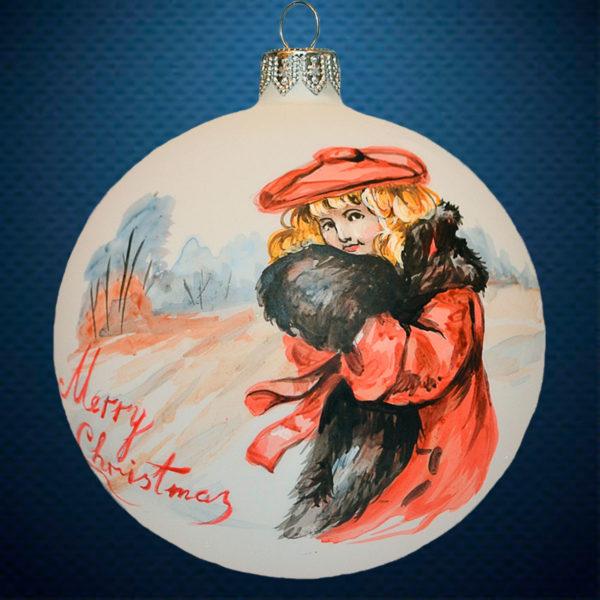 Стеклянный елочный винтажный шар Акварель Дама в красной шляпке
