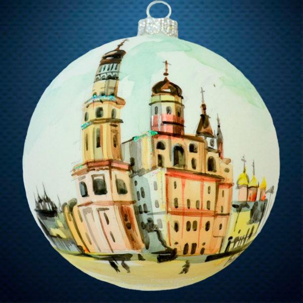 Стеклянный елочный винтажный шар Города мира Колокольня Ивана Великого