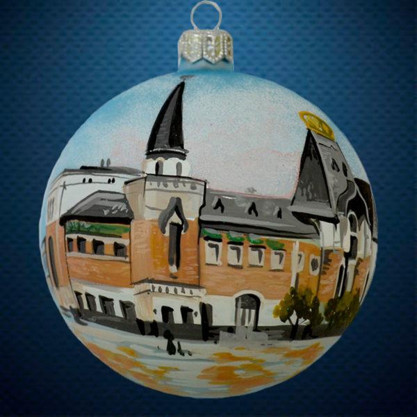 Стеклянный елочный винтажный шар Города мира Ярославский вокзал