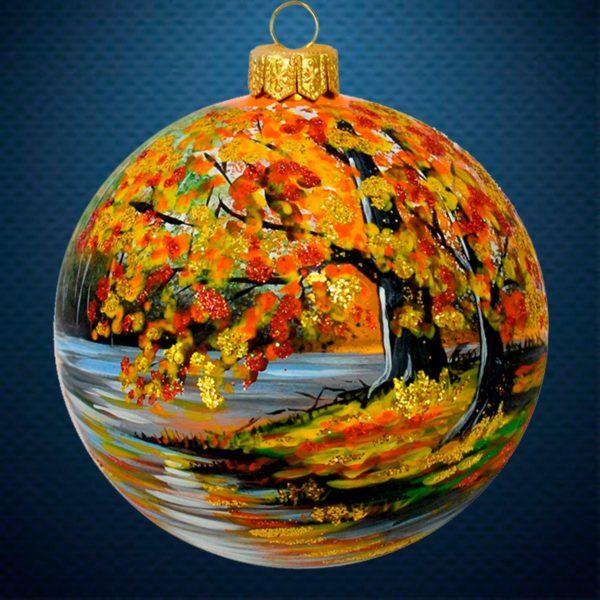Стеклянный елочный винтажный шар Золотая осень