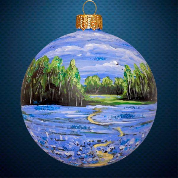 Стеклянный елочный винтажный шар Тихая заводь