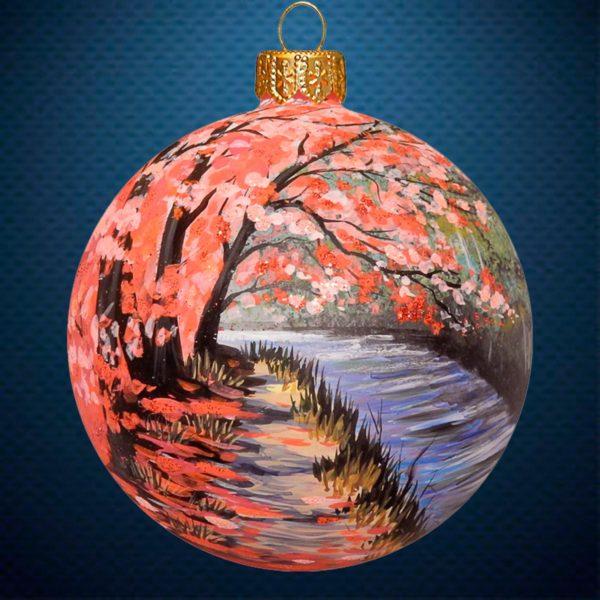Стеклянный елочный винтажный шар Цветущая аллея