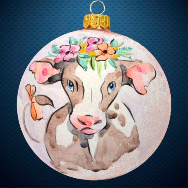 Стеклянный елочный винтажный шар символ года Красавица