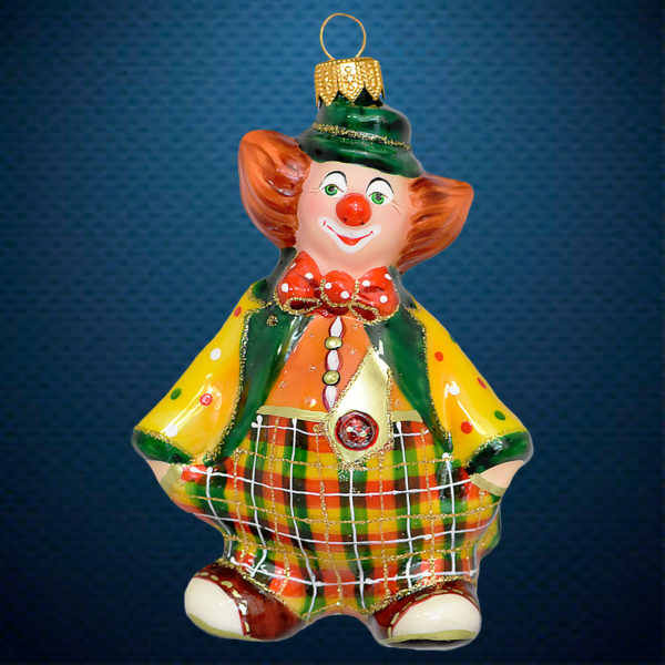 Стеклянная елочная игрушка от фабрики Ариель Клоун Мандаринчик